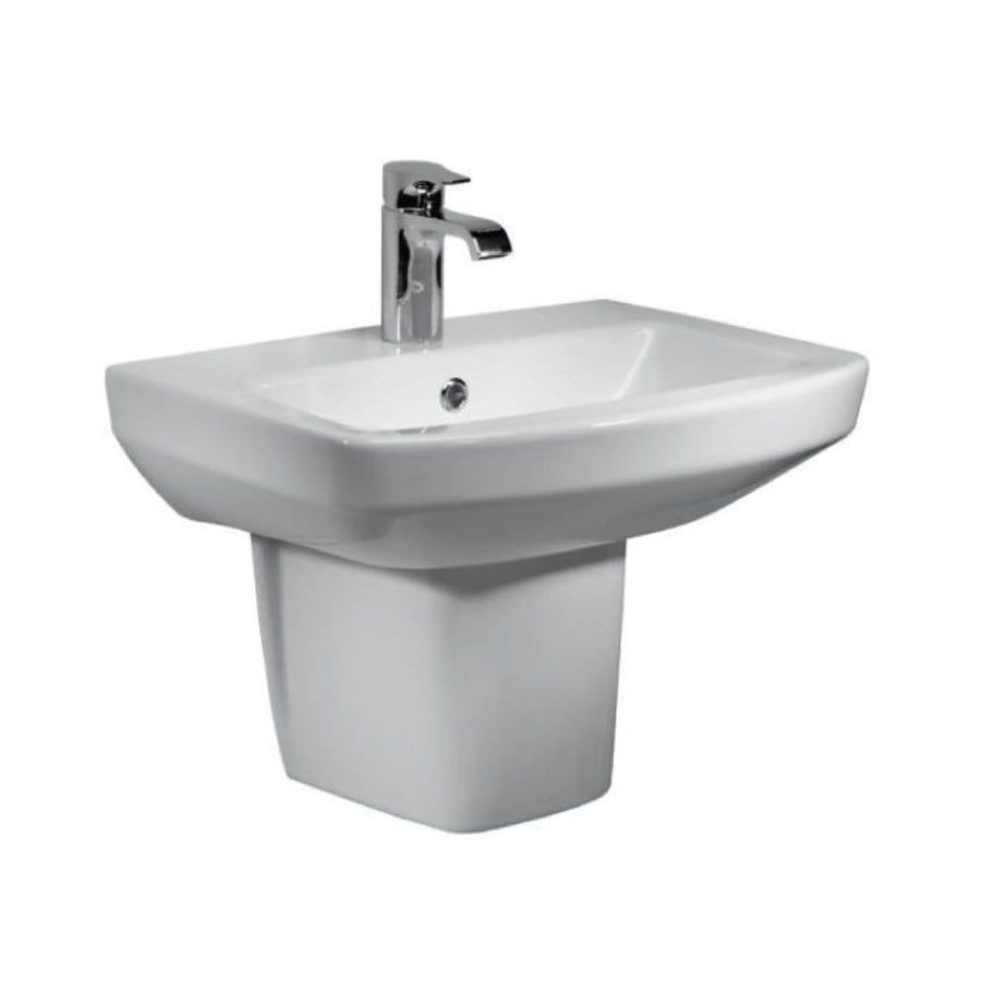 Kartell Aspect 460mm 1th Basin & Semi Pedestal - EverythingBathroom.co.uk