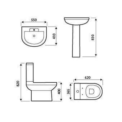 Kartell Code 4 Piece Bathroom Set, including Toilet Seat - EverythingBathroom.co.uk