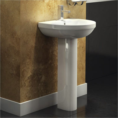 Kartell Code 550mm 1TH Round Basin & Pedestal - EverythingBathroom.co.uk
