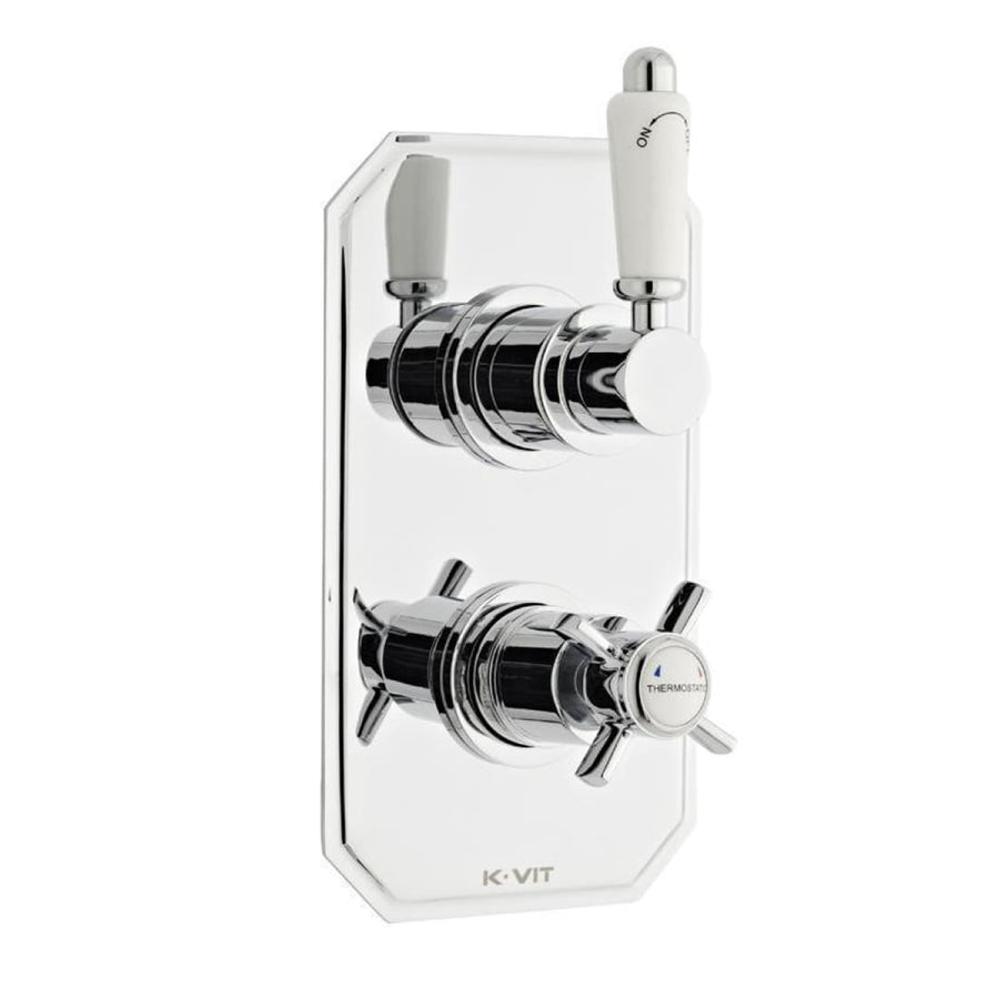 Kartell Klassique Option 3 Thermostatic Concealed Shower with Adjustable Slide Rail Kit and Overhead Drencher