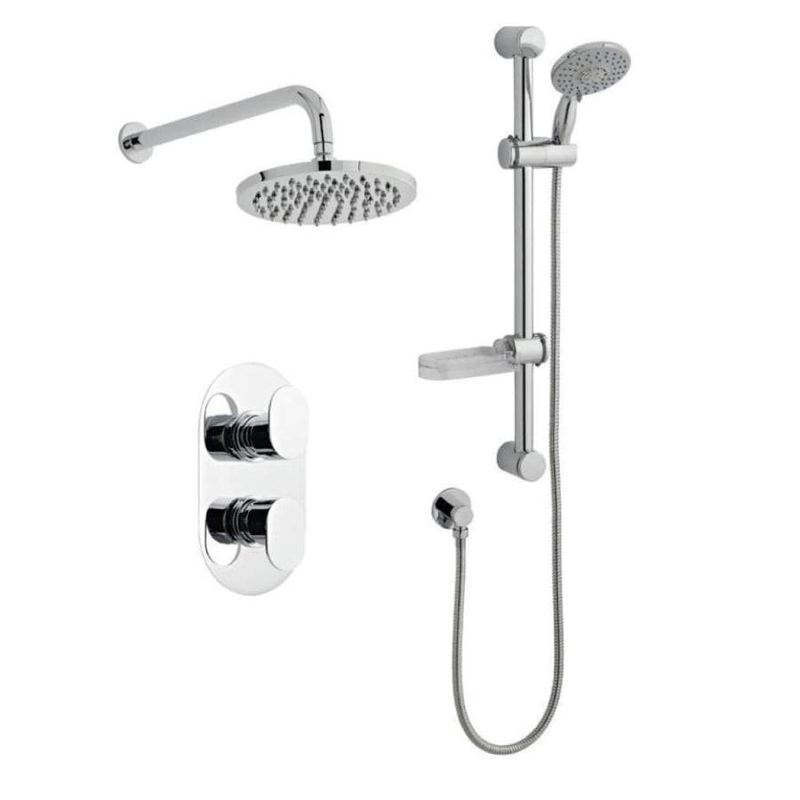 Kartell Logik Option 3 Thermostatic Concealed Shower with Adjustable Slide Rail Kit and Overhead Drencher