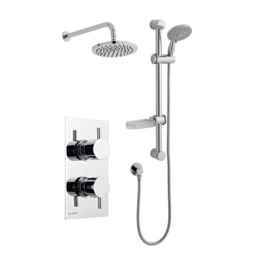 Kartell Plan Option 3 Thermostatic Concealed Shower with Adjustable Slide Rail Kit and Overhead Drencher