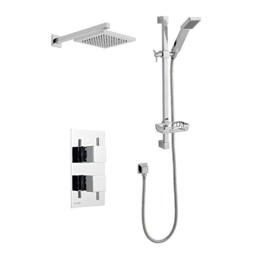 Kartell Pure 3 Thermostatic Concealed Shower with Slide Rail Kit and Overhead Drencher - EverythingBathroom.co.uk