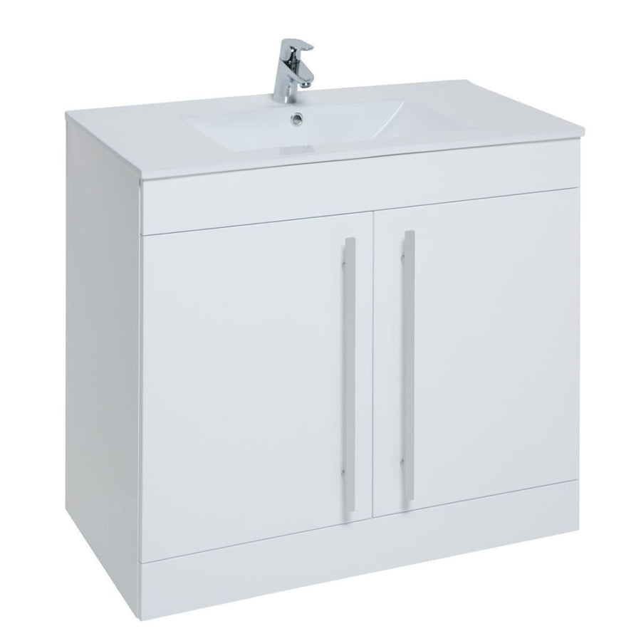 Kartell Purity Floor Standing 2 Door Unit & Ceramic Basin - EverythingBathroom.co.uk