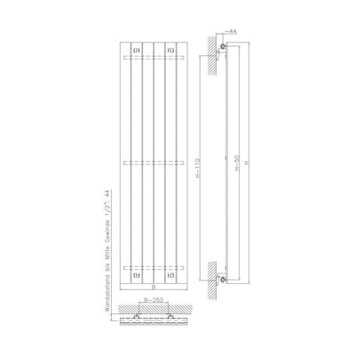 MARS Single Vertical Radiator (SILVER) - EverythingBathroom.co.uk