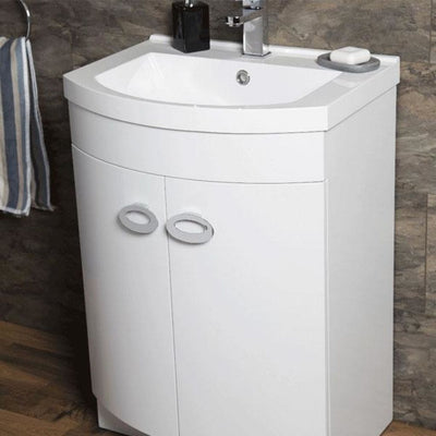 Pebble -D shaped Basin Unit - Gloss White - EverythingBathroom.co.uk