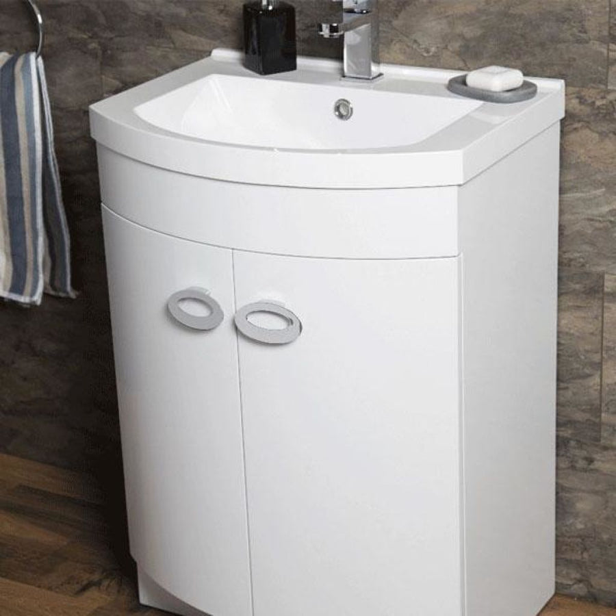 Pebble -D shaped Basin Unit - Gloss White