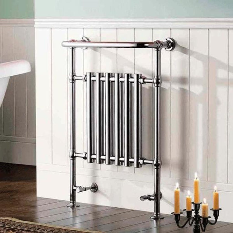 Traditional Chrome Heated Towel Rail - 963mm x 673mm x 230mm