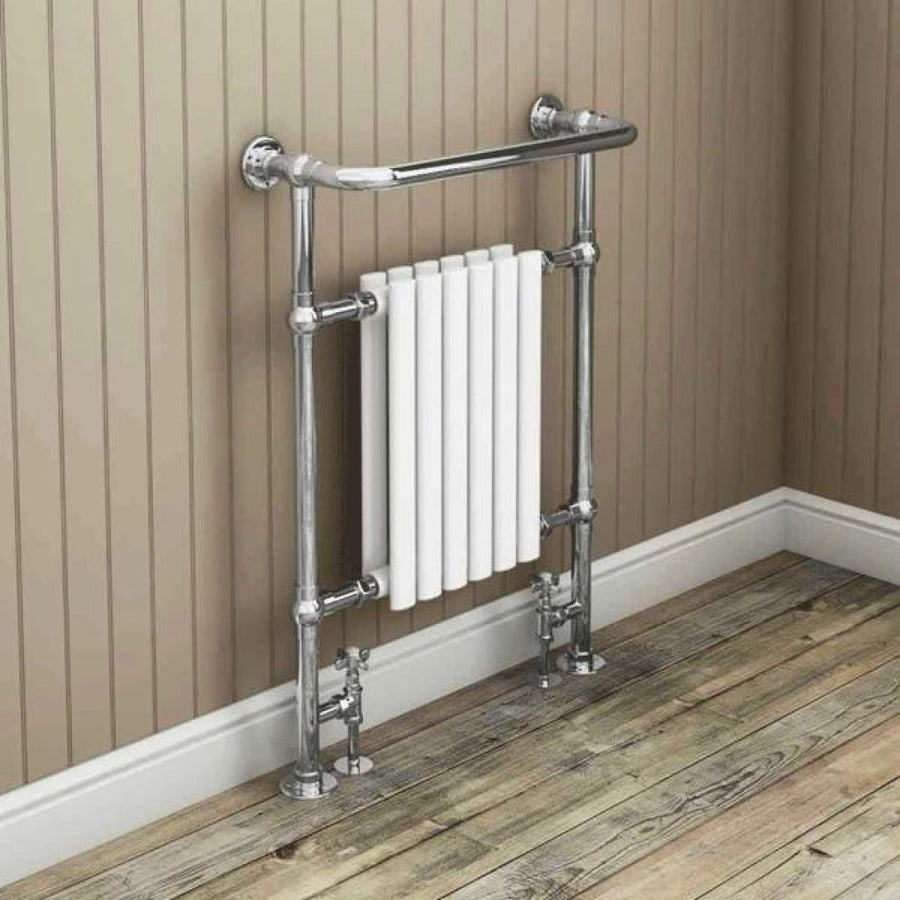 Traditional Heated Towel Rail White & Chrome - 963mm x 673mm