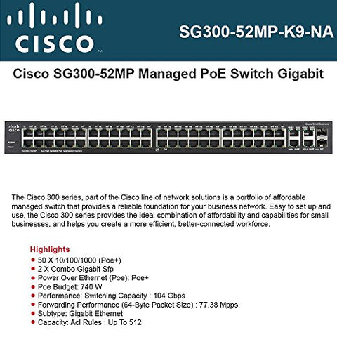 Cisco Gigabit SFP Rack-Mountable Layer 3 Switch (SG300-52MP-K9)