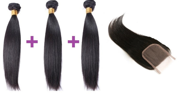 Silky Straight 3 bundle set with Closure