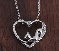 Limited Edition: Zinc Alloy Jewelry Cat Heart Necklace
