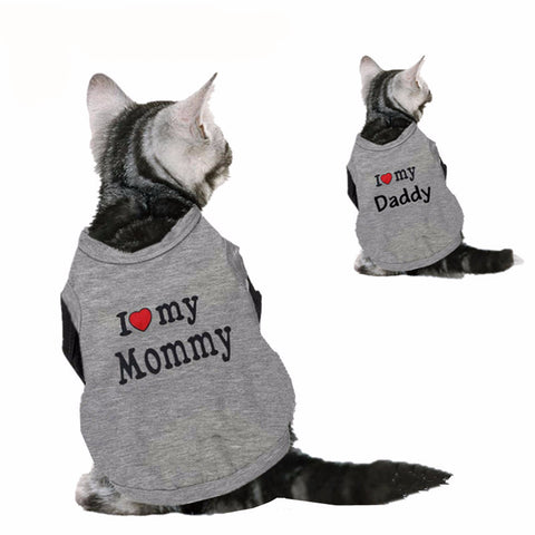 Cat Cotton T-shirt I Love My Mommy Daddy