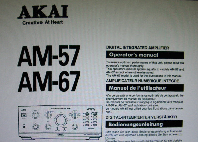 AKAI AM-57 AM-67 DIGITAL INTEGRATED AMP OPERATOR'S MANUAL INC CONN DIAGS AND TRSHOOT GUIDE 14 PAGES ENG