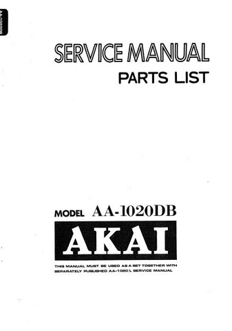 AKAI AA-1020DB AM FM STEREO RECEIVER SERVICE MANUAL PCBS SCHEM DIAGS AND PARTS LIST 16 PAGES ENG