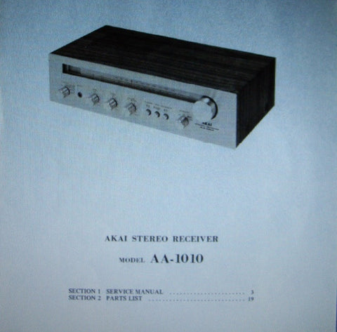 AKAI AA-1010 AM FM STEREO RECEIVER SERVICE MANUAL INC SCHEMS PCBS AND PARTS LIST 32 PAGES ENG