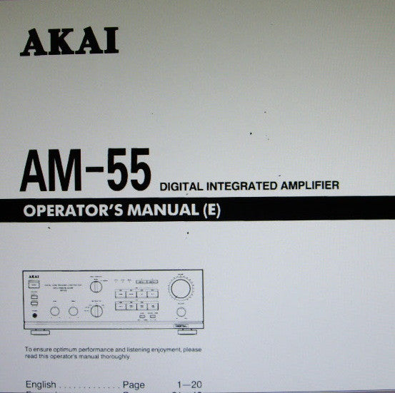 AKAI AM-55 DIGITAL INTEGRATED AMP OPERATOR'S MANUAL INC CONN DIAGS AND TRSHOOT GUIDE 20 PAGES ENG