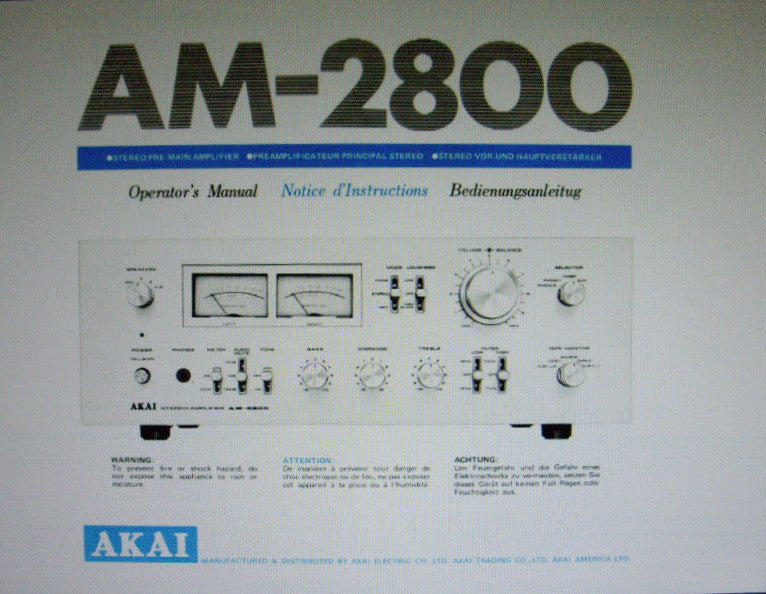AKAI AM-2800 STEREO PRE MAIN INTEGRATED AMP OPERATOR'S MANUAL INC CONN DIAG 10 PAGES ENG FRANC DEUT