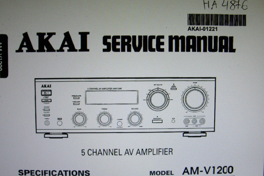AKAI AM-V1200 5 CHANNEL AV AMP SERVICE MANUAL INC BLK DIAGS WIRING DIAG SCHEMS PCBS AND PARTS LIST 22 PAGES ENG
