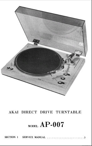 AKAI AP-007 DIRECT DRIVE FULLY AUTOMATIC TURNTABLE SERVICE MANUAL INC PCB'S SCHEM DIAGS AND PARTS LIST 18 PAGES ENG