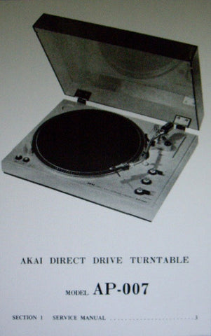 AKAI AP-007 DIRECT DRIVE FULLY AUTOMATIC TURNTABLE SERVICE MANUAL INC SCHEMS AND PCBS 18 PAGES ENG