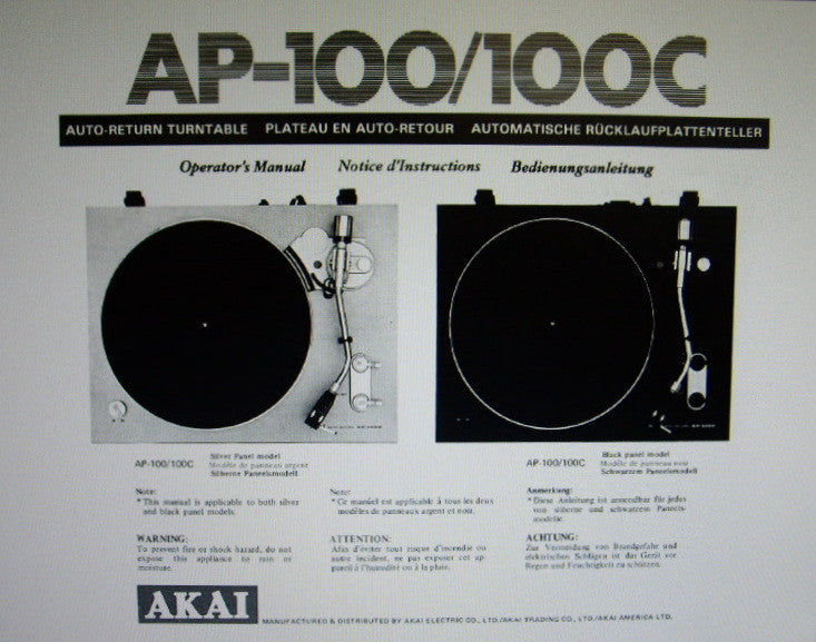 AKAI AP-206 AP-206C 2 SPEED DIRECT DRIVE AUTO RETURN TURNTABLE OPERATOR'S MANUAL INC CONN DIAG 10 PAGES ENG FRANC DEUT