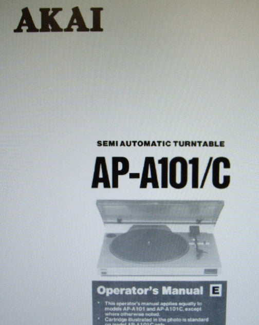 AKAI AP-A101 AP-A101C SEMI AUTOMATIC TURNTABLE OPERATOR'S MANUAL INC CONN DIAG AND TRSHOOT GUIDE 8 PAGES ENG
