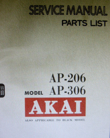 AKAI AP-206 AP-306 2 SPEED DIRECT DRIVE AUTO RETURN TURNTABLE SERVICE MANUAL INC BLK DIAGS AND PCBS 32 PAGES ENG