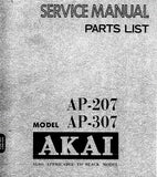 AKAI AP-207 AP-307 DIRECT DRIVE FULLY AUTOMATIC TURNTABLE SERVICE MANUAL INC BLK DIAGS PCB'S SCHEM DIAG AND PARTS LIST 52 PAGES ENG