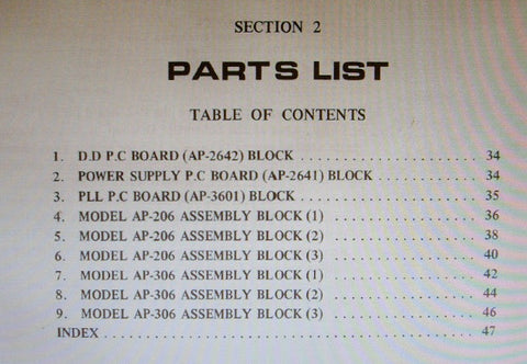 AKAI AP-206 AP-306 2 SPEED DIRECT DRIVE AUTO RETURN TURNTABLE PARTS LIST 17 PAGES ENG
