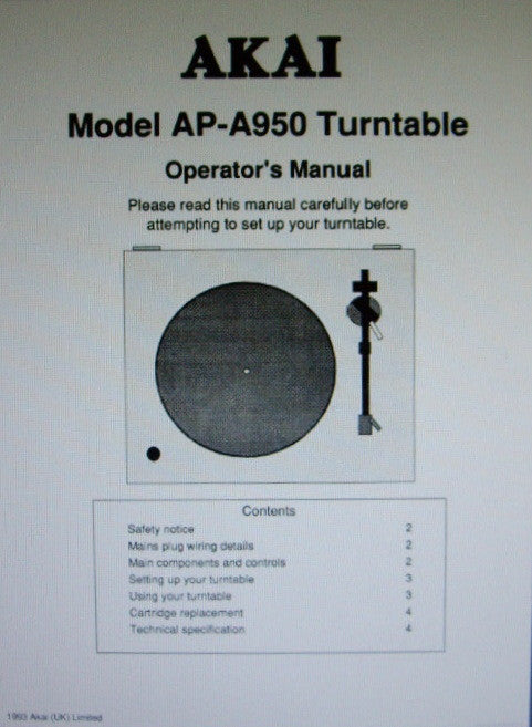 AKAI AP-A950 BELT DRIVE TURNTABLE SYSTEM OPERATOR'S MANUAL 4 PAGES ENG