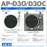 AP-D30 AP-D30C DIRECT DRIVE AUTO RETURN TURNTABLE OPERATOR'S MANUAL INC CONN DIAG 14 PAGES ENG FRANC DEUT