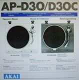 AKAI AP-D30 AP-D30C DIRECT DRIVE AUTO RETURN TURNTABLE OPERATOR'S MANUAL INC CONN DIAG 14 PAGES ENG FRANC DEUT