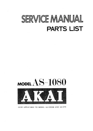 AKAI AS-1070 AS-1080 AS-1080DB STEREO RECEIVER SERVICE MANUAL INC SCHEM DIAGS PCB'S CONN DIAG AND PARTS LIST 54 PAGES ENG