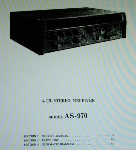 AKAI AS-970 4 CHANNEL STEREO RECEIVER SERVICE MANUAL INC BLK DIAG SCHEMS PCBS AND PARTS LIST 66 PAGES ENG