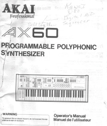 AKAI AX60 PROGRAMMABLE POLYPHONIC SYNTHESIZER OPERATOR'S MANUAL 31 PAGES ENG FRANC