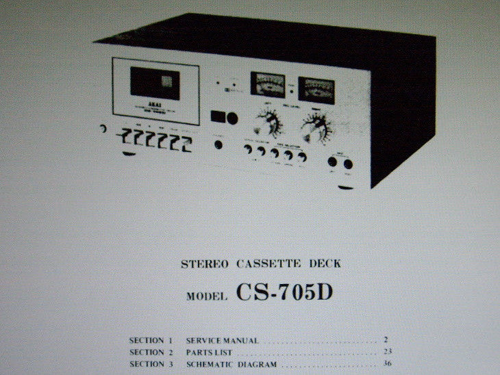 AKAI CS-705D STEREO CASSETTE TAPE DECK SERVICE MANUAL INC SCHEM DIAG PCBS AND PARTS LIST 37 PAGES ENG