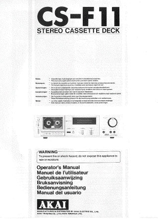 AKAI CS-F11 STEREO CASSETTE TAPE DECK OPERATOR'S MANUAL INC CONN DIAGS AND TRSHOOT GUIDE 44 PAGES ENG FRANC NL SW DEUT ESP