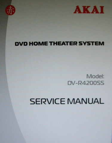 AKAI DV-R4200SS DVD HOME THEATER SYSTEM SERVICE MANUAL INC BLK DIAGS WIRING DIAGS SCHEMS PCBS AND PARTS LIST 51 PAGES ENG