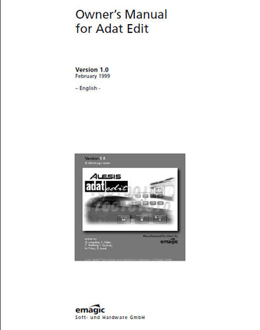 ALESIS ADAT EDIT BY eMAGIC OWNER'S MANUAL 354 PAGES ENG