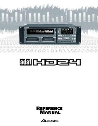 ALESIS ADAT HD24 HARD DISC RECORDER REFERENCE MANUAL INC TRSHOOT GUIDE 102 PAGES ENG