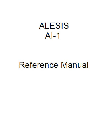 ALESIS ADAT AI-1 DIGITAL INTERFACE AND SAMPLE RATE CONVERTER REFERENCE MANUAL 46 PAGES ENG