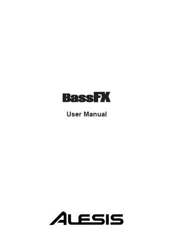 ALESIS BASS FX USER MANUAL 40 PAGES ENG