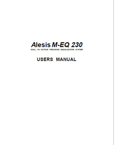 ALESIS M-EQ230 EQUALIZER USERS MANUAL 11 PAGES ENG