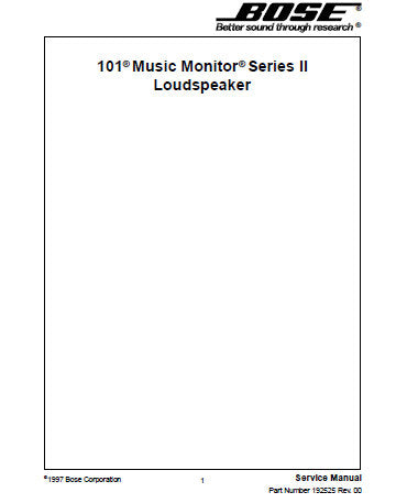 BOSE 101 SERIES II MUSIC MONITOR LOUDSPEAKER SERVICE MANUAL INC PARTS LIST 2 PAGES ENG