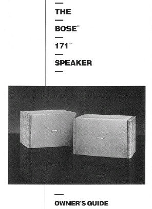 BOSE 171 SPEAKER OWNER'S GUIDE INC CONN DIAG AND TRSHOOT GUIDE 8 PAGES ENG