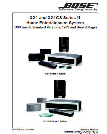 BOSE 3.2.1 SERIES II 3.2.1 GS SERIES II HOME ENTERTAINMENT SYSTEM US CAN ST VER 120V AND DUAL VPLT SERVICE MANUAL INC PCB'S AND PARTS LIST 68 PAGES ENG