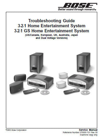 BOSE 3.2.1 AND 3.2.1 GS HOME ENTERTAINMENT SYSTEM TROUBLESHOOT GUIDE AND SERVICE MANUAL INC BLK DIAGS SCHEM DIAGS AND PCB'S 102 PAGES ENG