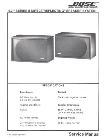 BOSE 4.2 SERIES II DIRECT REFLECTING SPEAKER SYSTEM SERVICE MANUAL INC SCHEM DIAG AND PARTS LIST 11 PAGES ENG