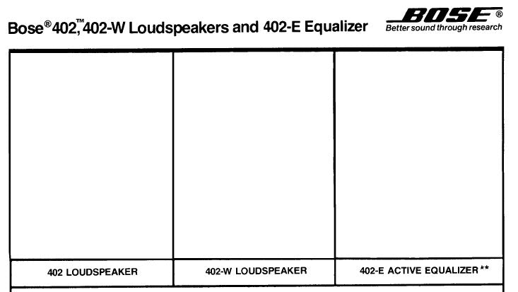 BOSE 402 402-W SPEAKERS 402-E EQUALISER SERVICE MANUAL INC SCHEM DIAG AND PARTS LIST 18 PAGES ENG